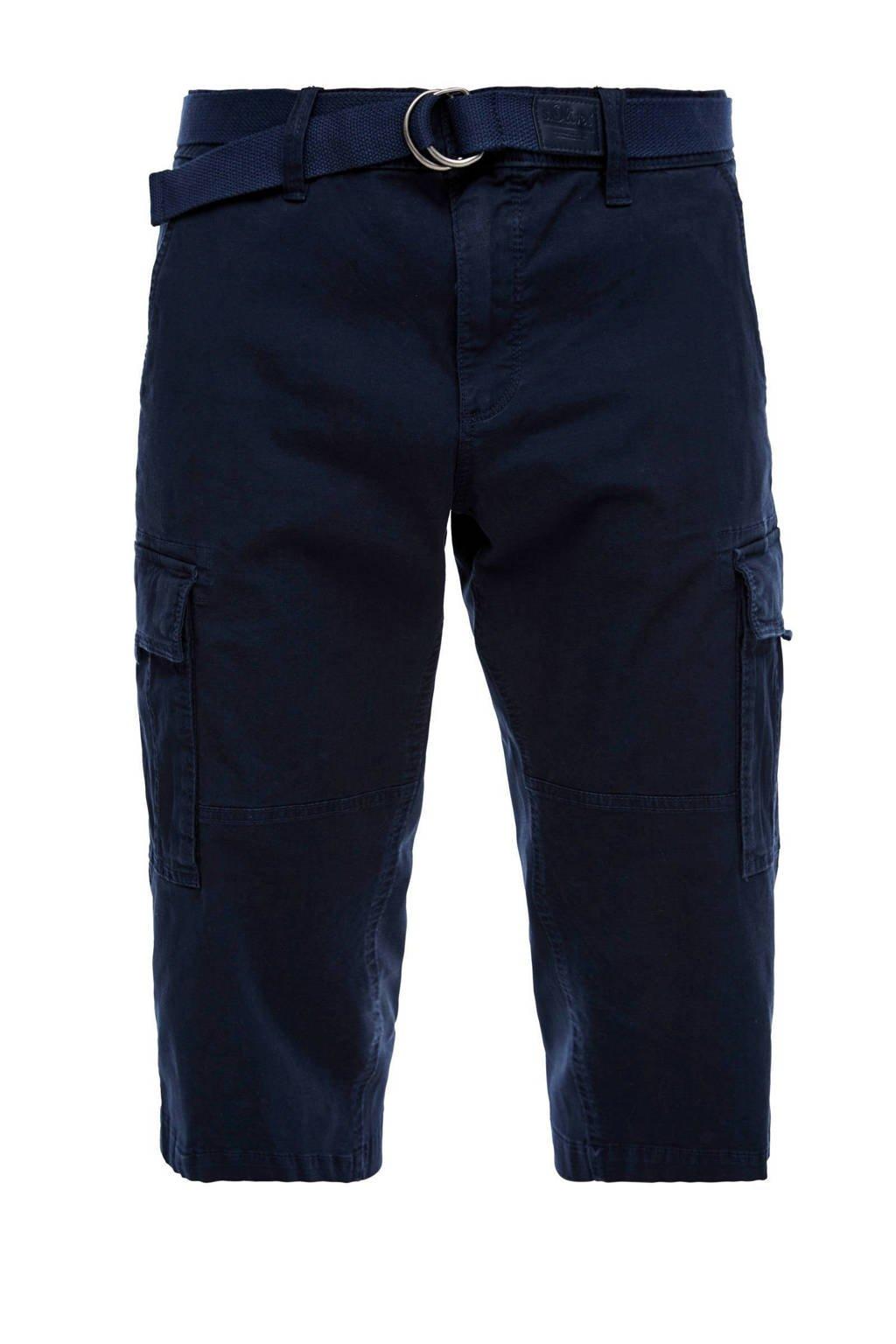 s.Oliver regular fit cargo bermuda donkerblauw, Donkerblauw