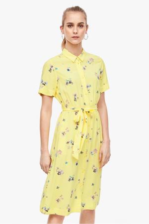 blousejurk met all over print en ceintuur lichtgeel