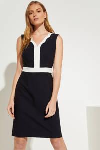 comma jurk met contrastbies marineblauw/wit, Marineblauw/wit