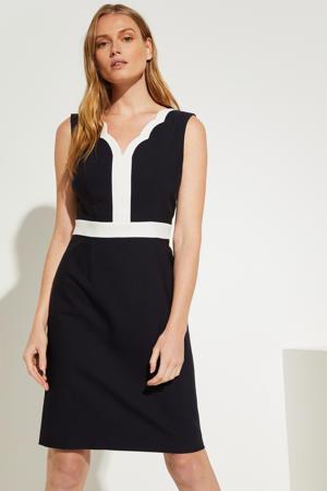 jurk met contrastbies marineblauw/wit