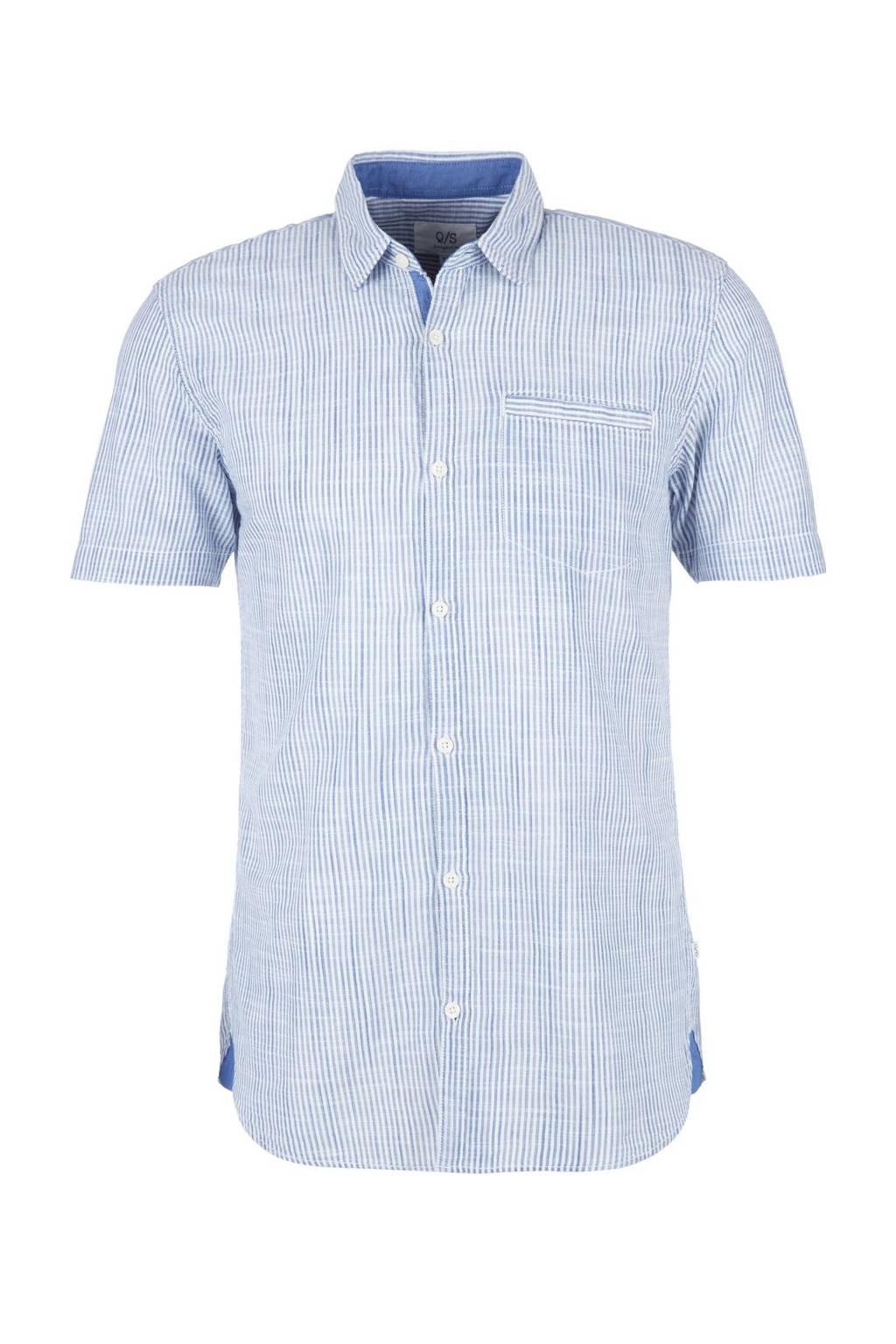 Q/S designed by gestreept regular fit overhemd blauw/wit, Blauw/wit