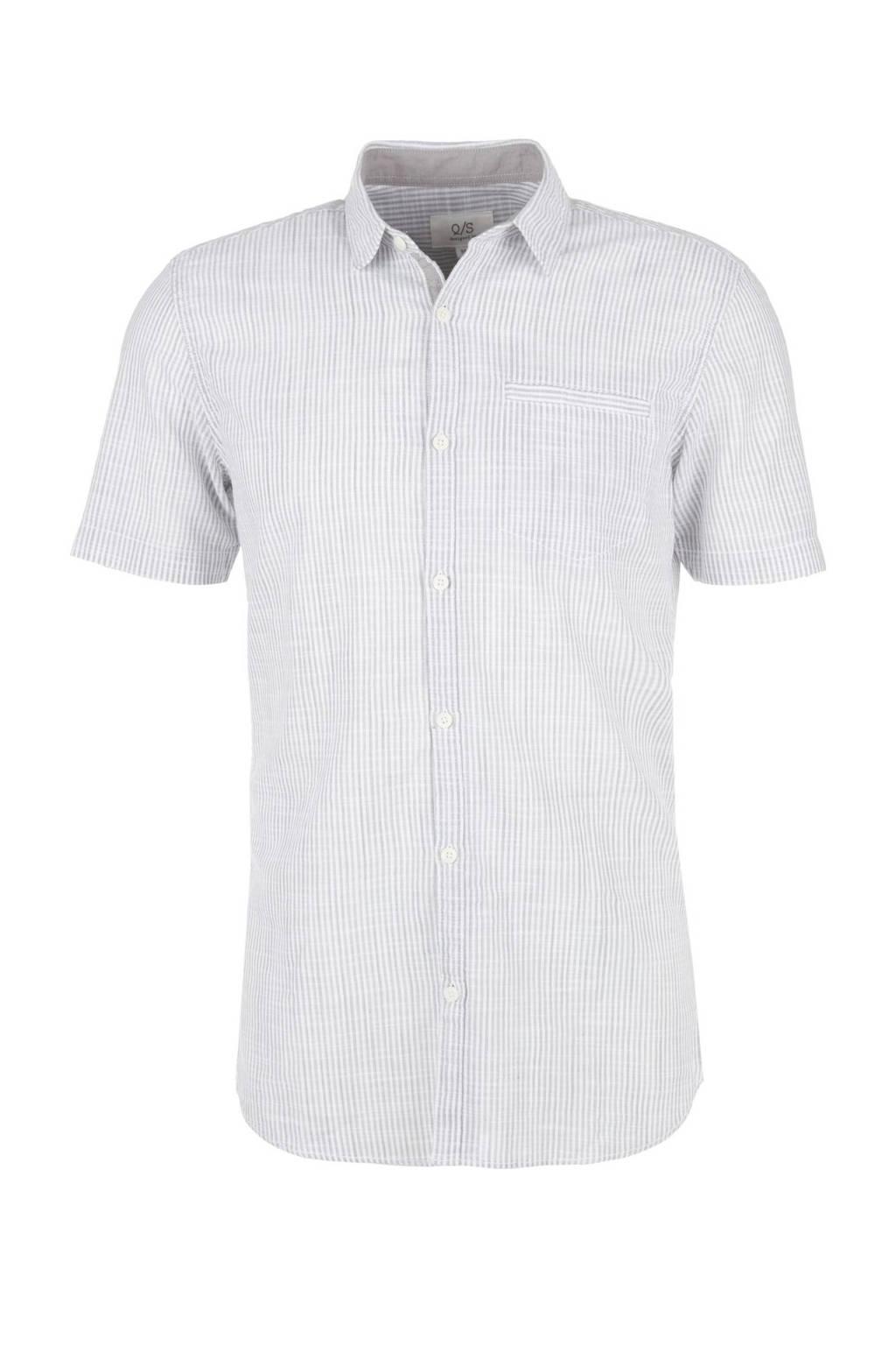 Q/S designed by gestreept regular fit overhemd grijs, Grijs