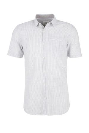 gestreept regular fit overhemd grijs