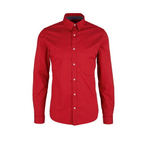 s.Oliver slim fit denim overhemd rood