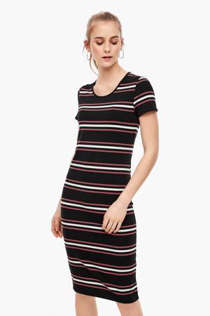 gestreepte jurk zwart/rood