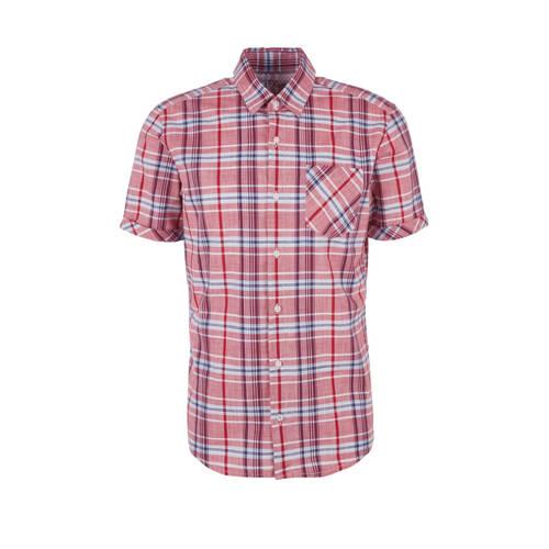 s.Oliver geruit slim fit denim overhemd rood