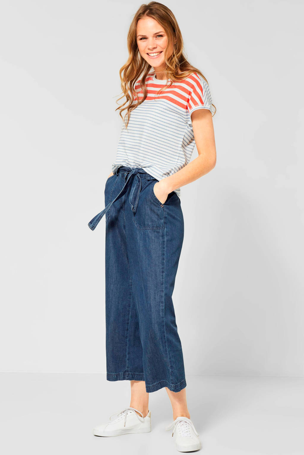 CECIL high waist culotte wide leg fit donkerblauw, Donkerblauw