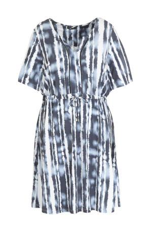 tie-dye jersey jurk blauw/wit