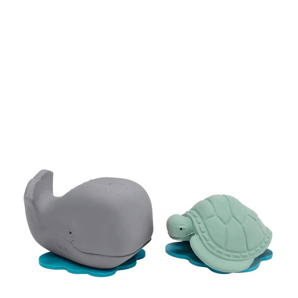 Hevea HEVEA Ingolf de Walvis & Dagmar de schildpad badspeeltjes, Grijs