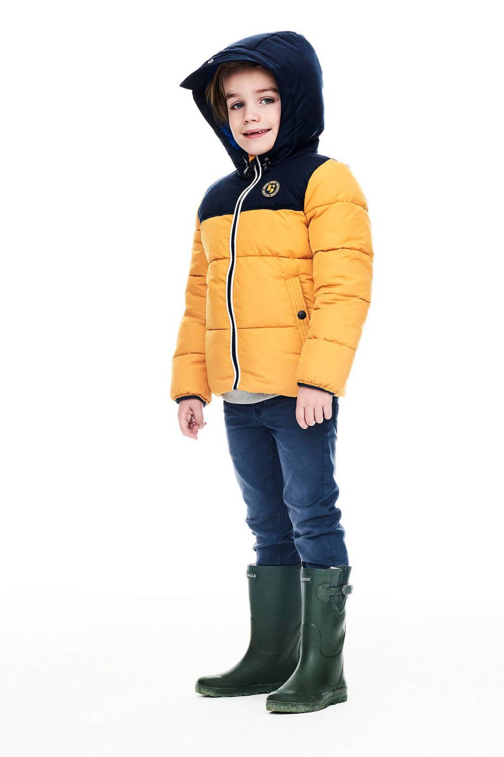 Garcia gewatteerde winterjas mosterdgeel/donkerblauw