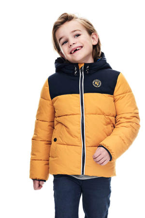gewatteerde winterjas mosterdgeel/donkerblauw