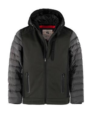 gewatteerde winterjas donkergroen/grijs