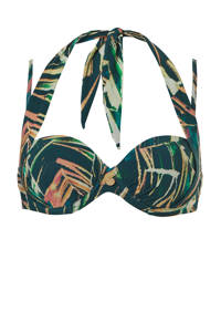 TC WOW strapless beugel bikinitop met all over print groen/donkerblauw, Groen/donkerblauw