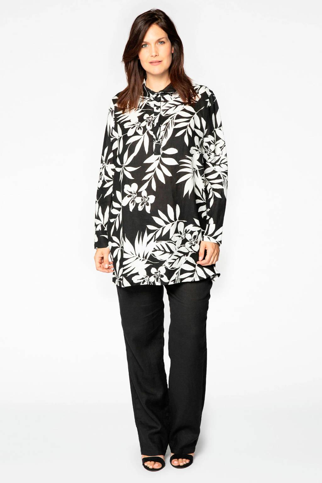 Yoek linnen top Valencia met bladprint zwart/wit, Zwart/wit