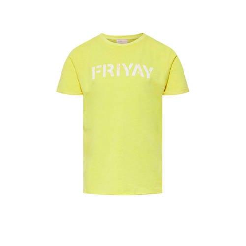 KIDS ONLY T-shirt Nacid met tekst geel/wit