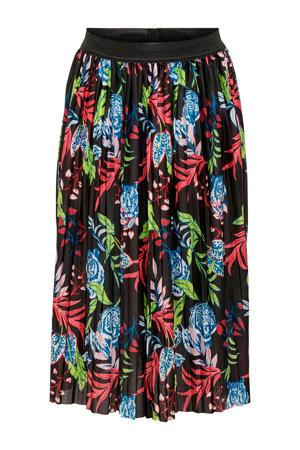 plissé rok met all over print zwart/rood/groen