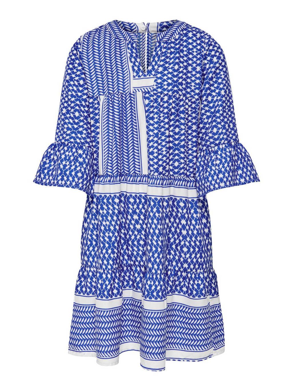 KIDS ONLY jurk Alberte met grafische print en plooien blauw/wit, Blauw/wit