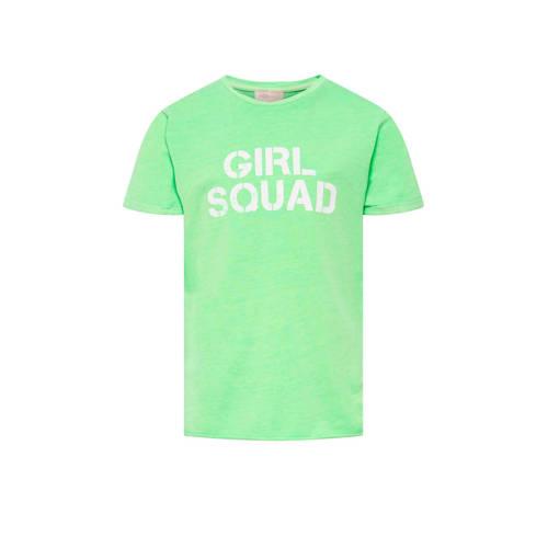 KIDS ONLY T-shirt Nacid met tekst groen/wit