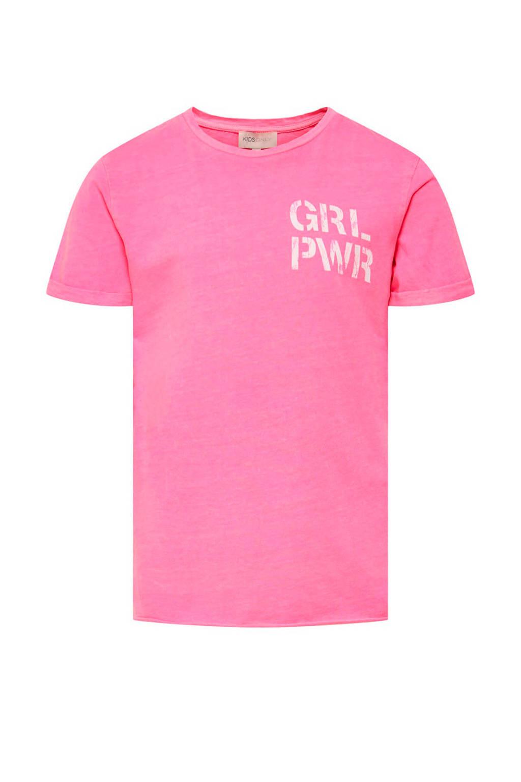 KIDS ONLY T-shirt Nacid met tekst roze/wit, Roze/wit