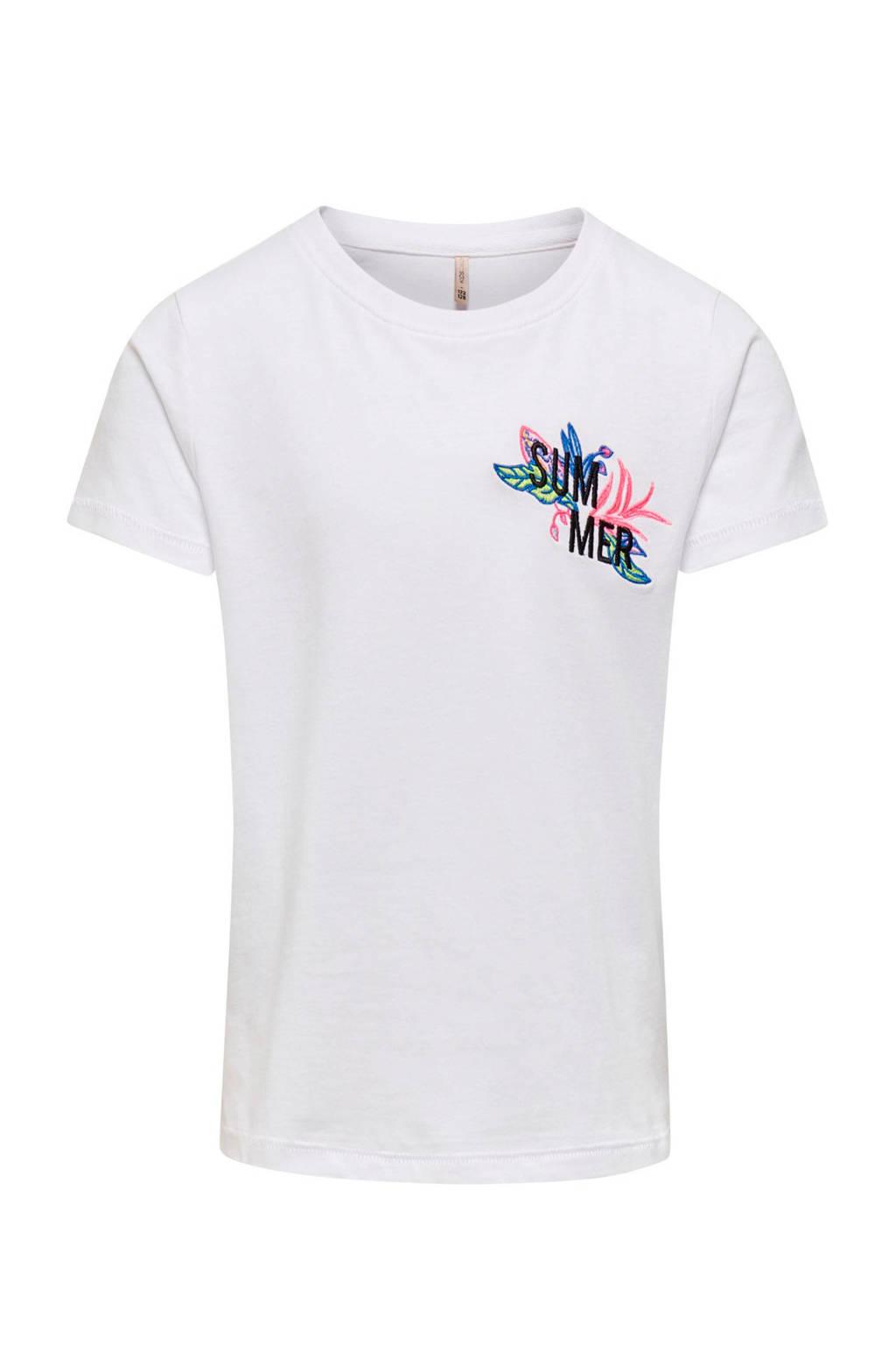 KIDS ONLY T-shirt Kita van biologisch katoen wit/zwart/roze, Wit/zwart/roze