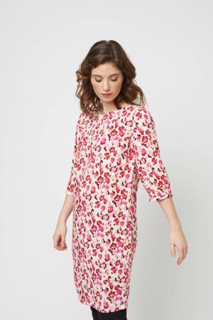 jurk met all over print roze