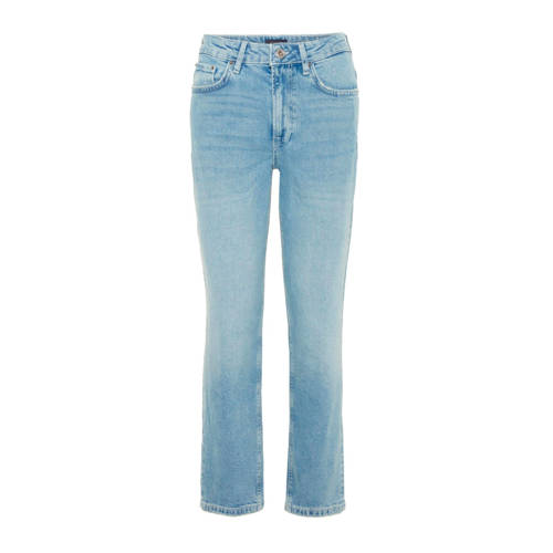PIECES high waist straight fit jeans blauw