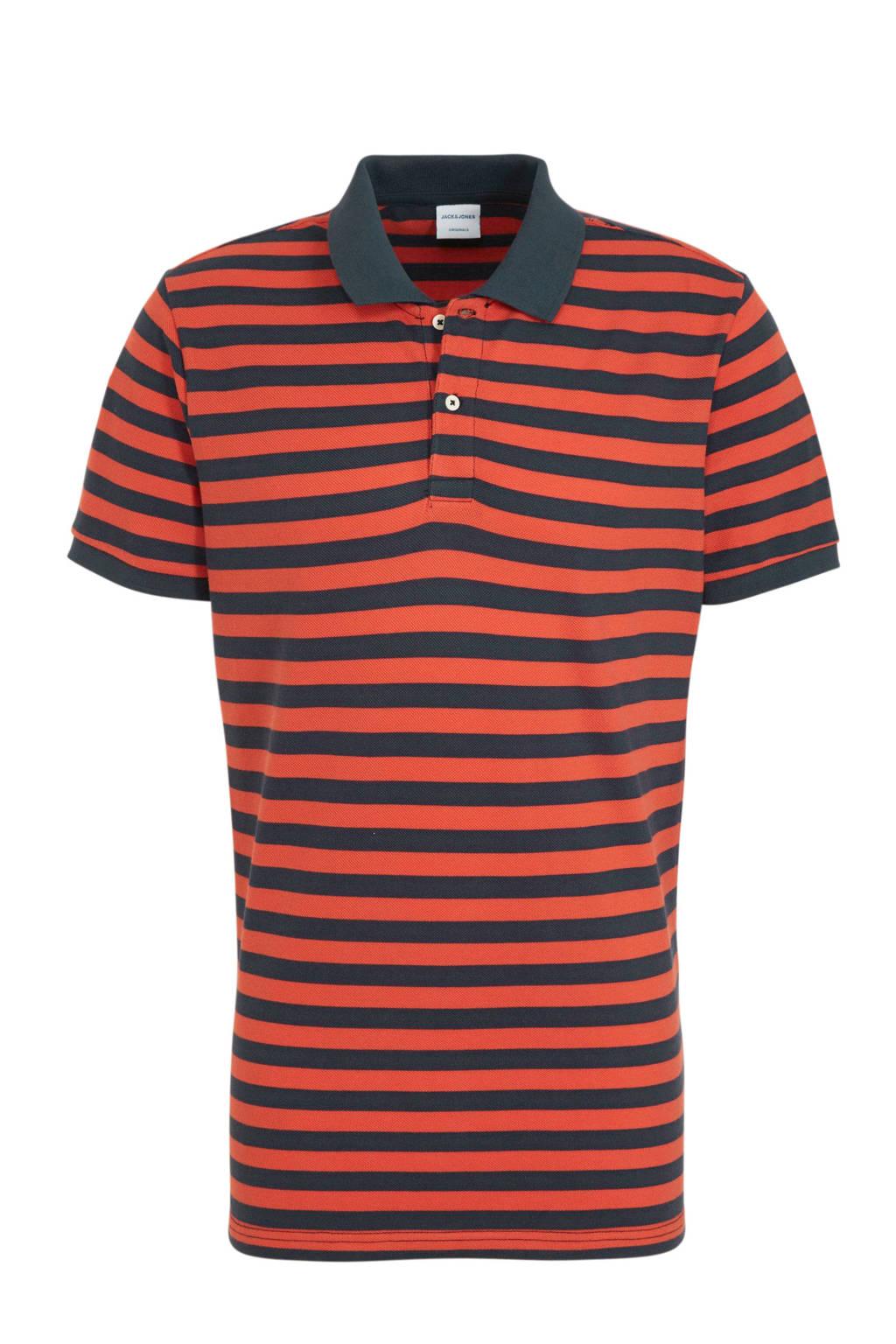 JACK & JONES ORIGINALS gestreepte slim fit polo oranje/marine, Oranje/marine