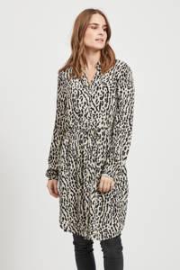 OBJECT blousejurk met panterprint en ceintuur zwart/wit, Zwart/wit