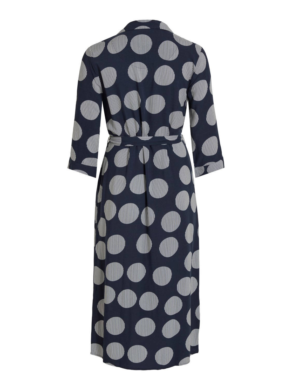 OBJECT jurk met all over print en ceintuur donkerblauw