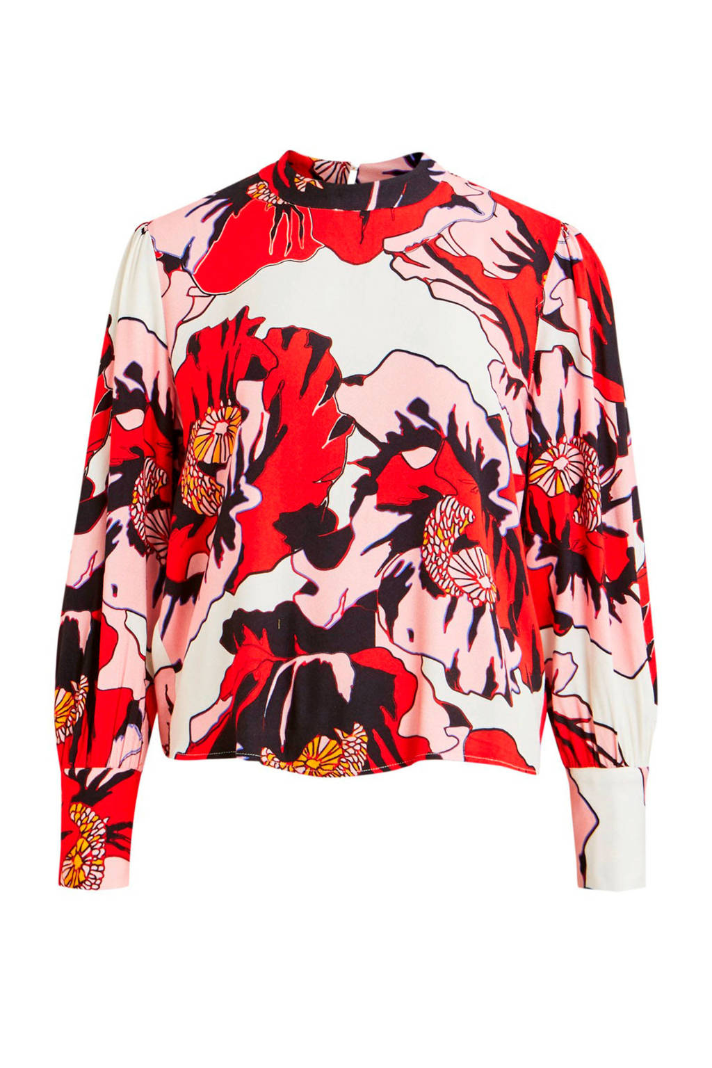 OBJECT top met all over print rood/wit/roze, Rood/wit/roze