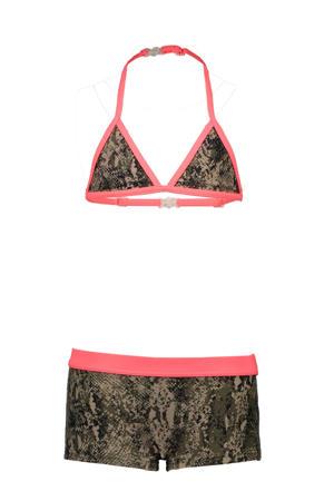 triangel bikini met slangenprint zwart/groen