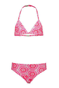Just Beach triangel bikini met all over print roze/wit, Roze/wit