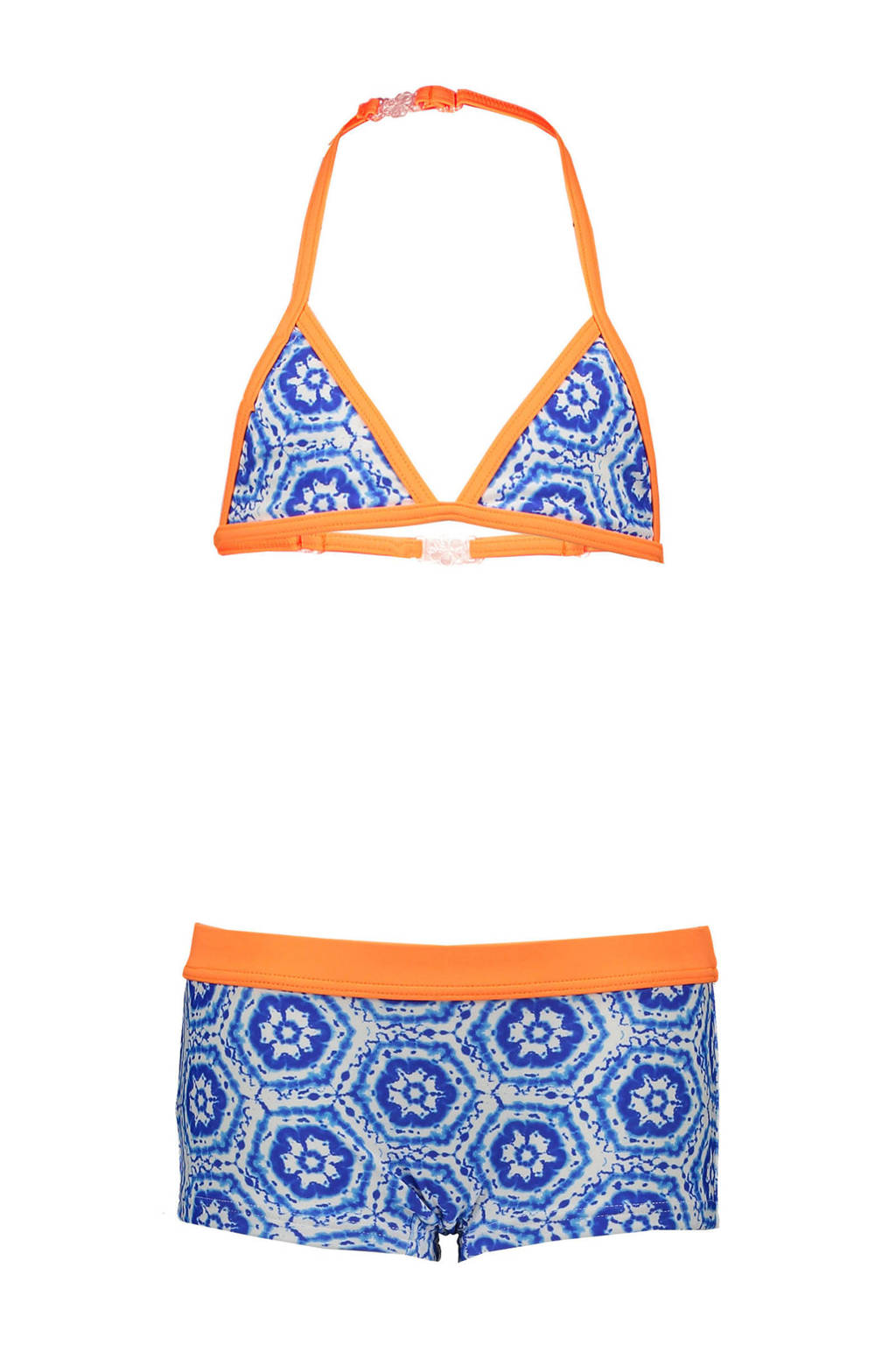 Just Beach triangel bikini met all over print blauw/oranje, Blauw/wit/oranje