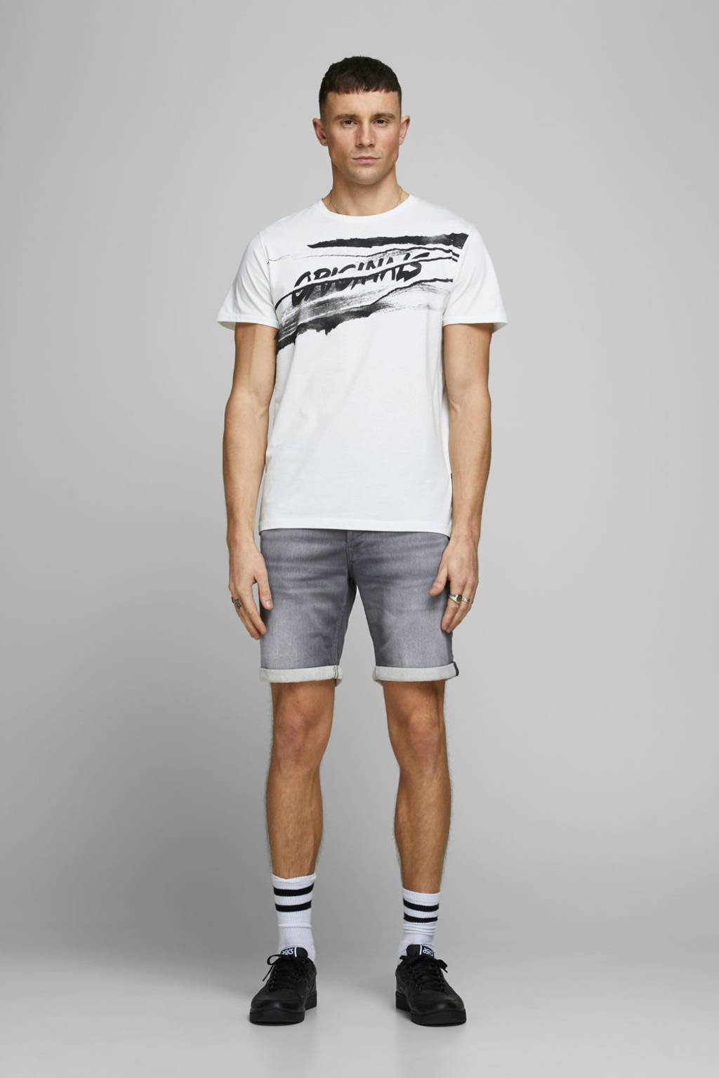 JACK & JONES JEANS INTELLIGENCE regular fit jeans short Rick grey denim, Grey denim