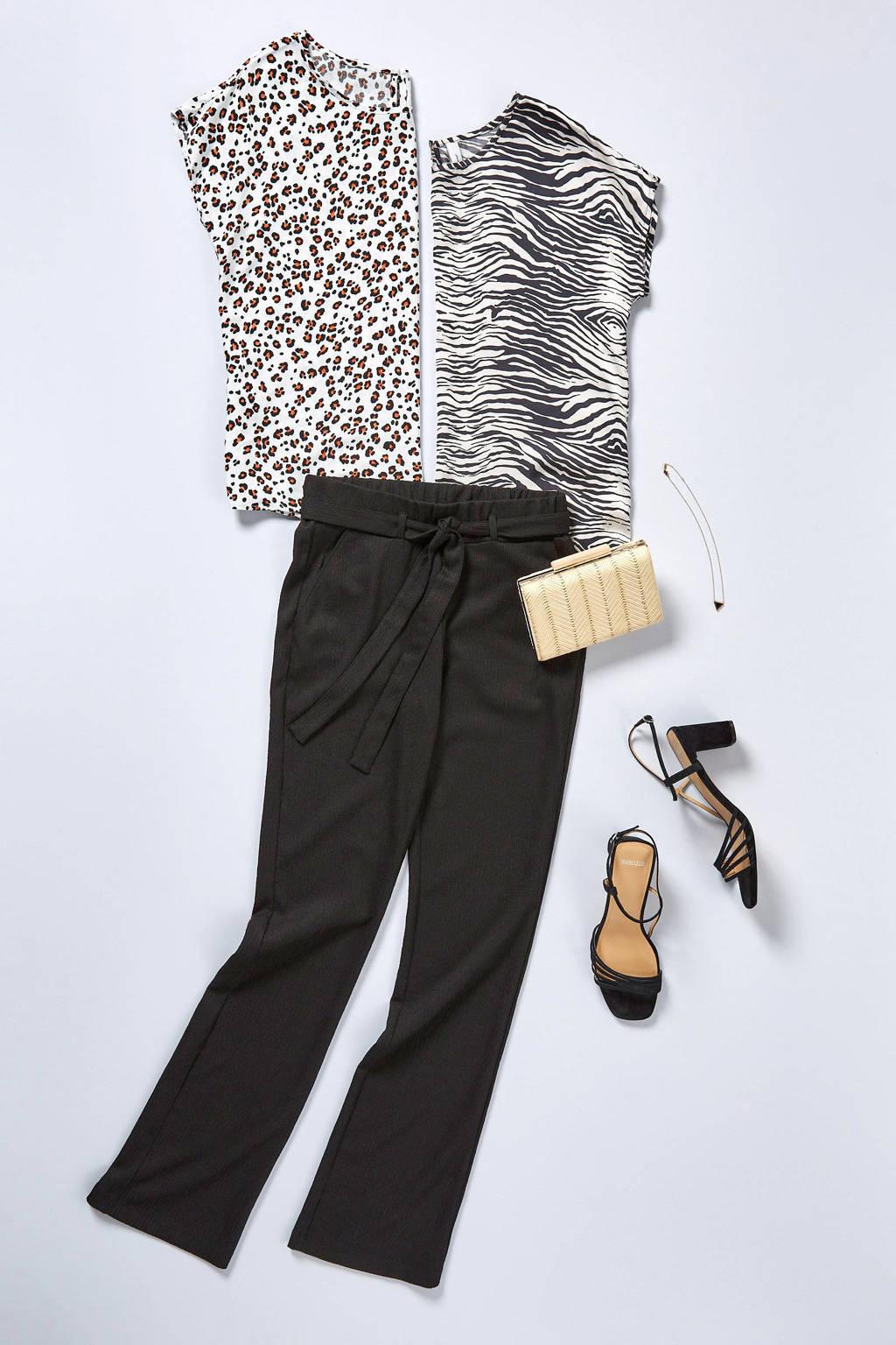 Sacha   sandalettes crocoprint zwart, Zwart