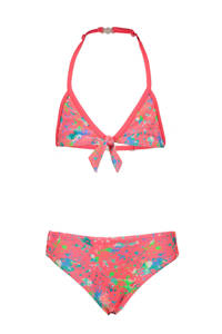 Just Beach triangel bikini met all over print koraalrood, Koraal/wit/blauw/groen