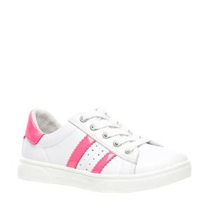 leren sneakers wit/roze