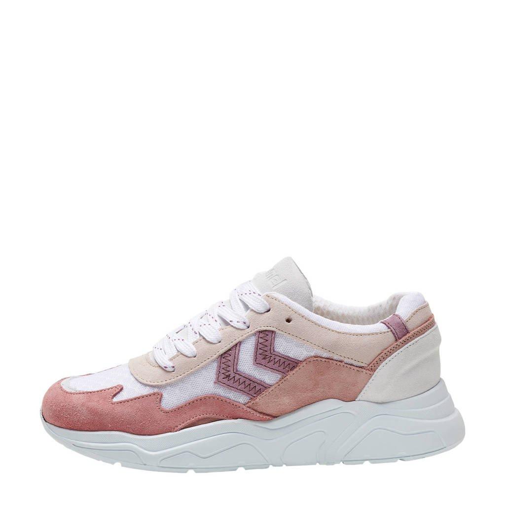hummel Braga  sneakers bruin/wit, Bruin/wit/mintgroen