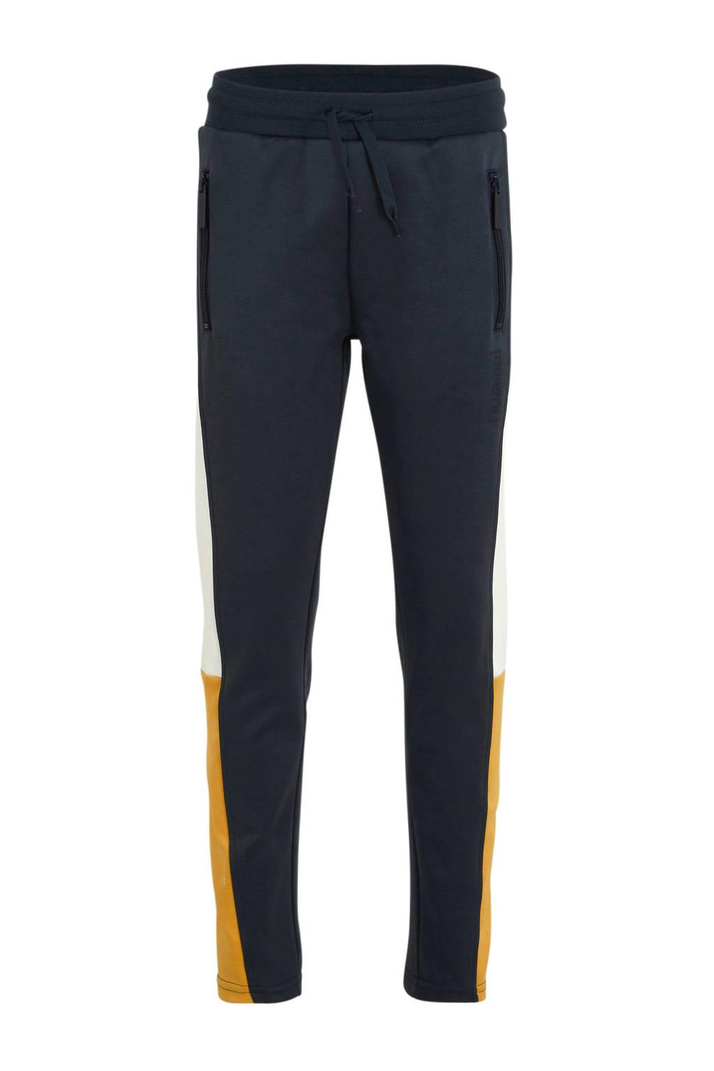 hummel   trainingsbroek donkerblauw/wit/geel, Donkerblauw/wit/geel