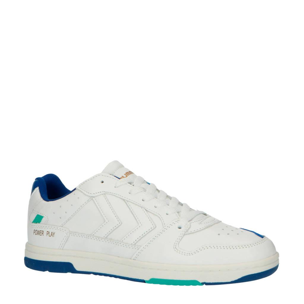 hummel Power Play  leren sneakers wit/blauw, Wit/blauw