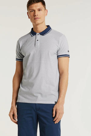 regular fit polo met all over print blauw