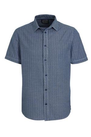 regular fit overhemd met all over print grijsblauw