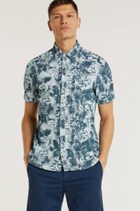 Petrol Industries regular fit overhemd met bladprint marine, Marine