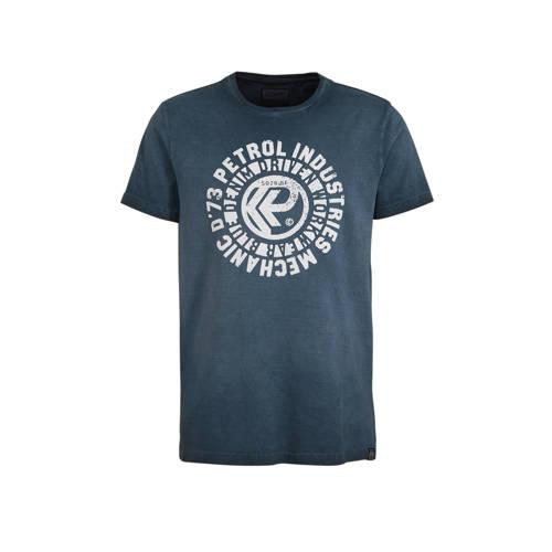 Petrol Industries T-shirt met printopdruk grijs