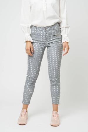 skinny broek SC-GERDA 1-B met all over print donkerblauw/wit