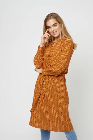 jurk Gigi met all over print en ruches oranje