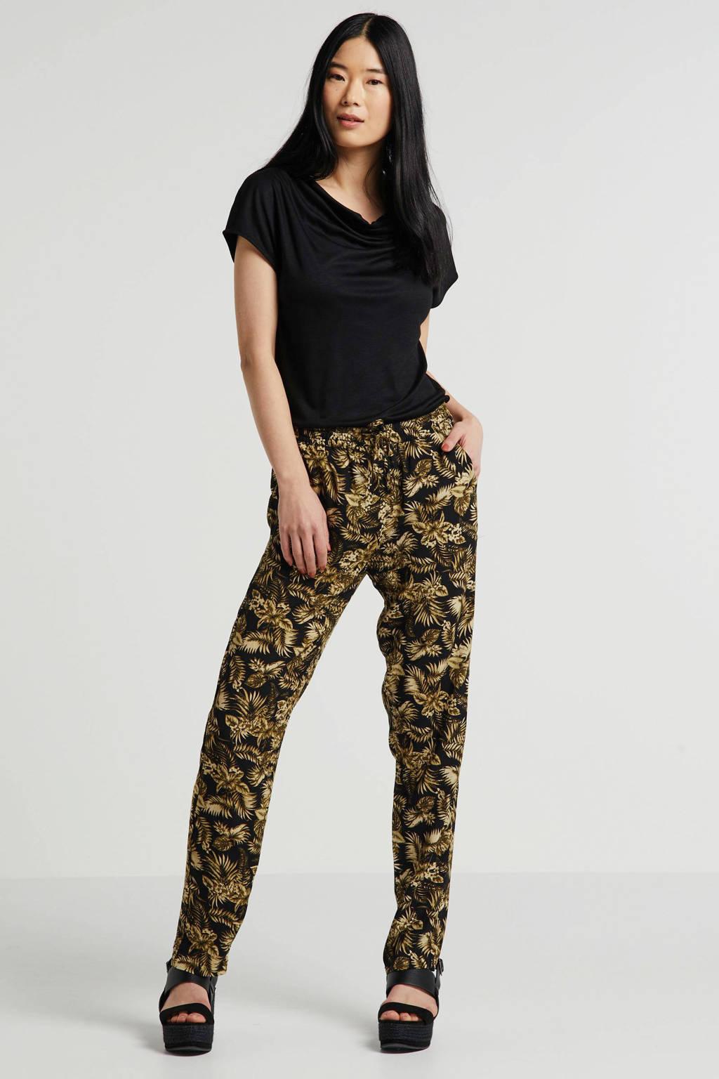 Soyaconcept high waist slim fit broek Geddi met all over print kaki, Kaki