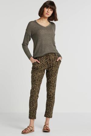 high waist straight fit broek Gunbrit met all over print kaki