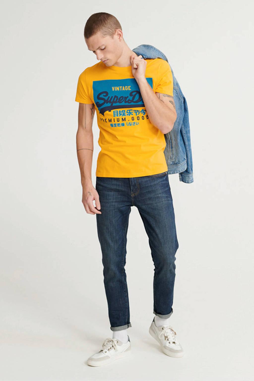 Superdry T-shirt met biologisch katoen geel, Geel