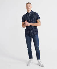 Superdry regular fit overhemd met all over print donkerblauw, Donkerblauw
